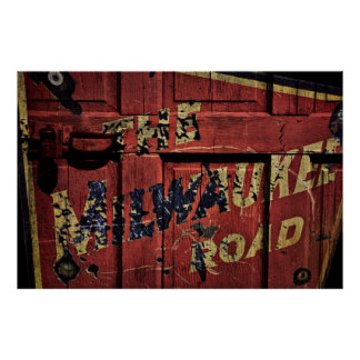 BOXCAR MILWAUKEE ROAD RAILROAD POSTER