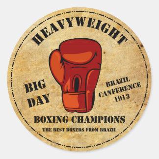 Boxe Champions Adesivo Em Formato Redondo