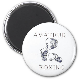 Boxeador aficionado imán redondo 5 cm