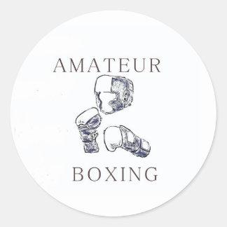 Boxeador aficionado pegatina redonda