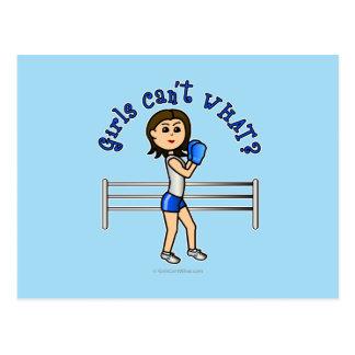 Boxeador azul claro tarjeta postal