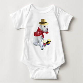 Boxeador blanco con los bongos infantiles mameluco de bebé