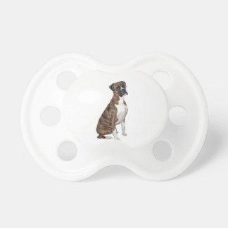 Boxeador - brindle (oídos naturales) chupetes para bebés