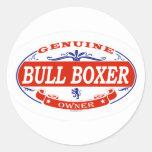 Boxeador de Bull Pegatina Redonda