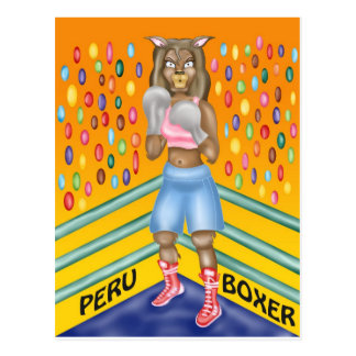 Boxeador de Perú, diseño de carácter de la alpaca Postal