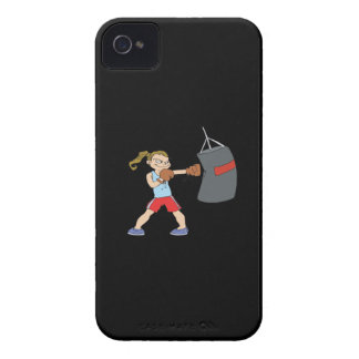 Boxeador de sexo femenino iPhone 4 Case-Mate cárcasas