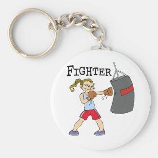 Boxeador de sexo femenino llavero redondo tipo pin