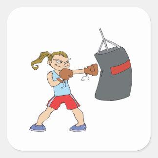 Boxeador de sexo femenino calcomanias cuadradas