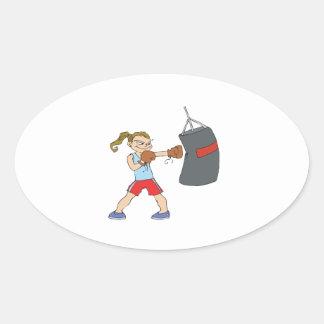 Boxeador de sexo femenino colcomanias de oval