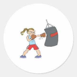Boxeador de sexo femenino etiquetas redondas