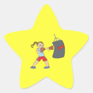 Boxeador de sexo femenino calcomanía forma de estrellae