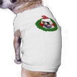 Boxeador del blanco del navidad playera sin mangas para perro