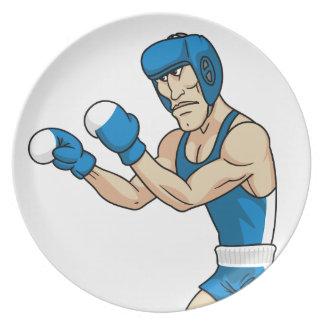 boxeador del dibujo animado plato de cena