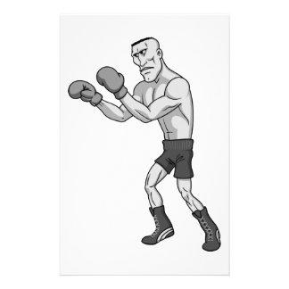boxeador del grayscale papelería personalizada