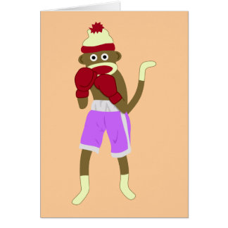 Boxeador del mono del calcetín tarjeta de felicitación