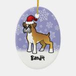 Boxeador del navidad (añada su nombre de mascotas) ornamento de navidad