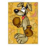 Boxeador del perro del dibujo animado del boxeo tarjetas
