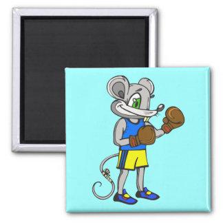 Boxeador del ratón imán cuadrado