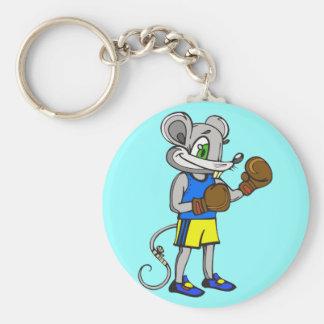 Boxeador del ratón llavero redondo tipo pin