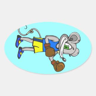 Boxeador del ratón pegatina ovalada
