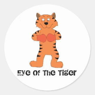 Boxeador del tigre del dibujo animado pegatina redonda