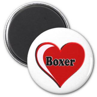 Boxeador en el corazón para los amantes del perro imán para frigorífico