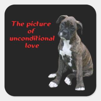 Boxeador:  Imagen del amor incondicional Pegatina Cuadrada