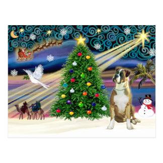 Boxeador mágico del navidad (oídos naturales) tarjeta postal