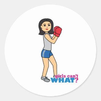 Boxeador - medio pegatina redonda