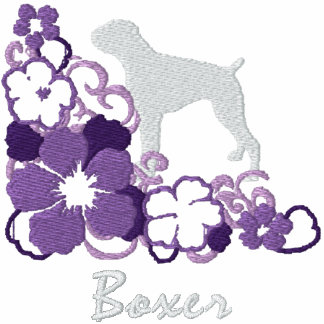 Boxeador púrpura del hibisco sudadera bordada con capucha