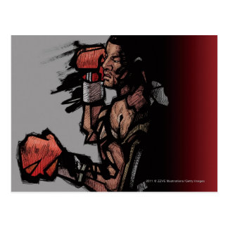 Boxeador que se acuesta postal