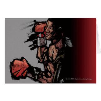 Boxeador que se acuesta tarjeta de felicitación