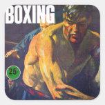 Boxeador retro del boxeo del kitsch del vintage colcomanias cuadradas