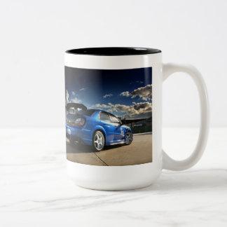 Boxeador Subie. Taza de café de Subaru WRX