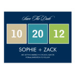 Boxed Calendar Save The Date Postcard (Navy Blue) Postcard