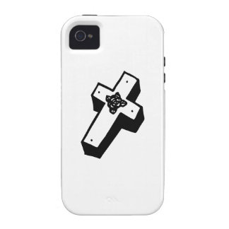 Boxed Floral Cross iPhone 4/4S Cases