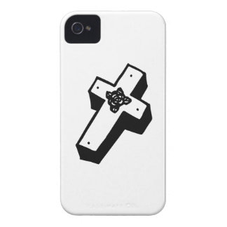 Boxed Floral Cross iPhone 4 Case-Mate Cases