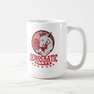 Boxeo de la mascota del burro de Demócrata Tazas De Café