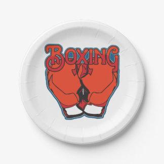 Boxeo deportivo plato de papel de 7 pulgadas