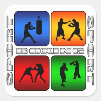 Boxeo espectacular pegatina cuadrada