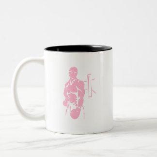 Boxeo rosa claro taza de café