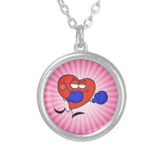 Boxeo rosado del corazón colgante