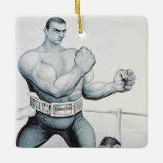 Boxeo SUPERIOR Adorno Navideño Cuadrado De Cerámica