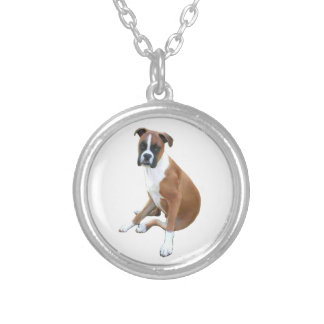 Boxer (A) - natural ears Silver Plated Necklace
