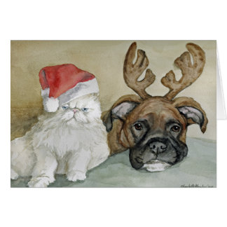 """""""Boxer and Cat"""" Dog Art Greeting Card"""