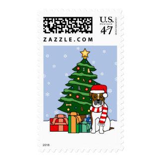 Boxer and Christmas Tree Postage Stamp