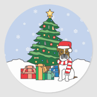 Boxer and Christmas Tree Sticker