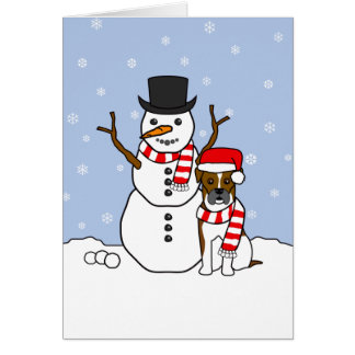Boxer and Snowman Card