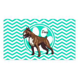 Boxer; Aqua Green Chevron Double-Sided Standard Business Cards (Pack Of 100)