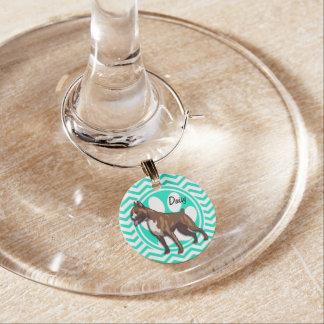 Boxer; Aqua Green Chevron Wine Glass Charm